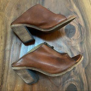 Frye Leather Boots Zipper Mule Sandals Heel Size 9